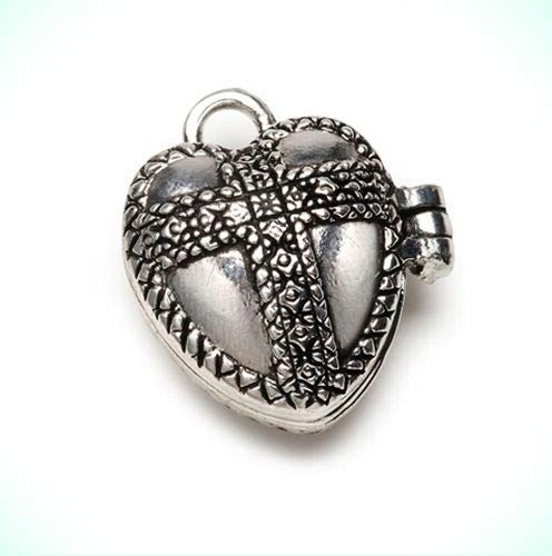 Puffy Heart with Cross Antiqued Silver Tone Prayer Box Locket Charm or Pendant