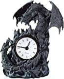 Fighting Dragons Clock - Collectible Figurine Statue Figure Sculpture