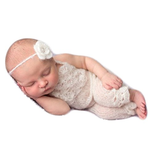 Baby Photography Props Boy Girl Photo Shoot Outfits Newborn Crochet Costume Infant Knitted Clothes Mohair Headdress Rompers (White)