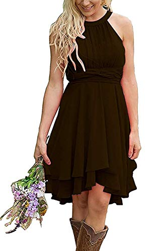 Erosebridal Short Bridesmaid Dresses Chiffon Halter Prom Dress Country Wedding Dress Chocolate 16