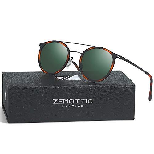ZENOTTIC Ultra Lightweight Metal Aviator Sunglasses for Women Men Polarized Double Bridge (Green Lens/TortoiseGun Frame, Round)
