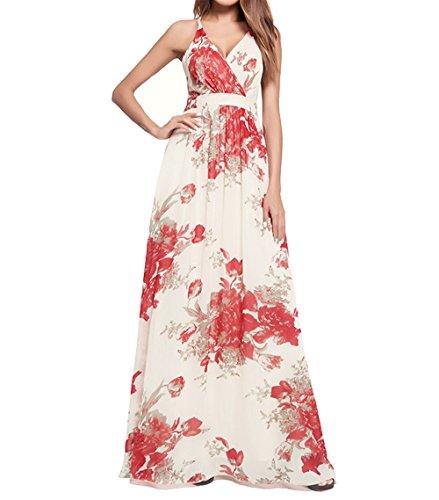 Weekendy Robe  Encolure en V  la Mode Robe  Encolure Croise et  imprim Bohme Robe Longue  Dos Nu Red