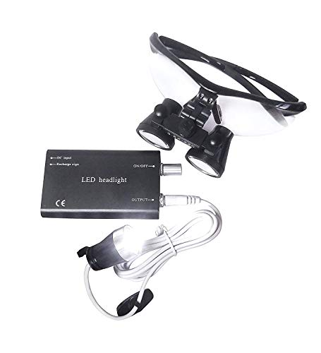 Bestlife 3.5x420mm DentaL Medical Binocular Loupes with Head light Lamp (Black),