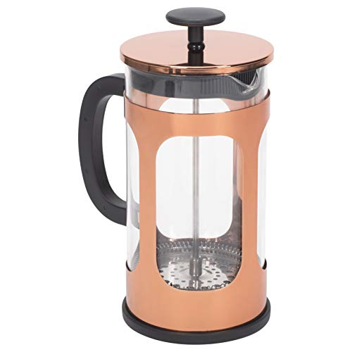 Brass Tone 1 Liter Large Glass and Stainless Steel French Press Coffee and Loose Leaf Tea Maker