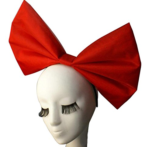 Anogol Huge Large Women's Bow Hair Bands Headdress Party Props Headband Hair Accessories for Cosplay Halloween Red Bowknot ()