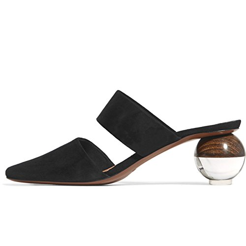 Ayercony Mule Shoes, Abnormal Heel Sandals Round Toe Mules Slippers Spherical Sandal Slides for Party Evening Black Size 6 US ()