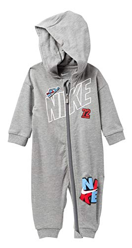 NIKE Infant Futura Coverall Romper (3 Months, Dark Grey Heather(56D702-042)/White)