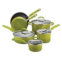 Rachael Ray Porcelain Enamel II Nonstick 10-Piece Cookware Set, Green Gradient