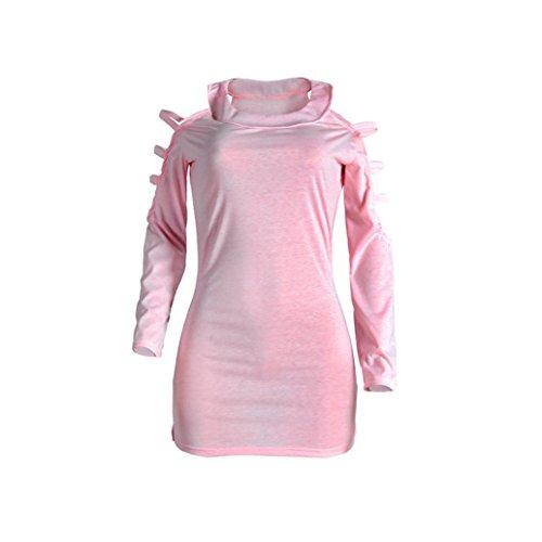 Pullover donna scoperte a lunga sexy da pink Gaddrt a manica spalle qCdTq