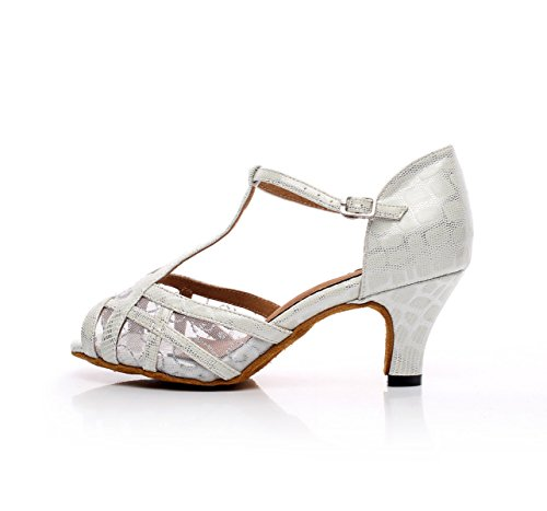 JSHOE Femmes T-Strap Open Toe Design Mode Satin Chaussures De Danse Latine Salsa Ballroom Sandales Talons Hauts,White-heeled8.5cm-UK5/EU37/Our38