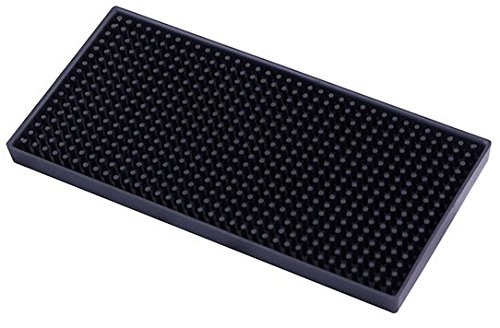 Rubber Bar Service Mat - Shaker Mat - Professional Spill Mat Bar Supplies - Black - 9 x 4.5 Inches