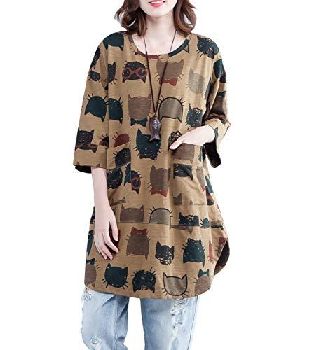 Round Cat - ELLAZHU Women Summer Round Neck Cat Print Shirt Top GA1366 Yellow