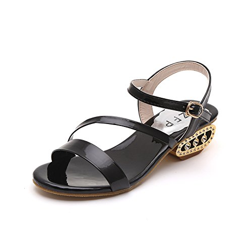 women's fashion Forty sandals shoes Lacquer leather one black ZqEvnx7O