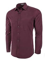 Marquis Slim Fit Dress Shirt - Burgundy,X-Large 17-17.5 Neck 32/33 Sleeve