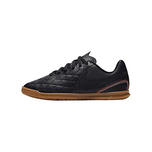 Nike JR Tiempo Rio IV 10R IC Soccer Shoe (3.5 M US Big Kid, Black)