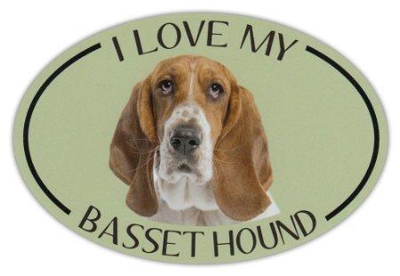 Hound Bumper Sticker (Oval Dog Breed Picture Car Sticker - I Love My Basset Hound - Bumper Sticker)