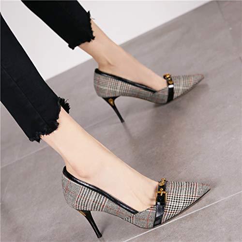 Baja Solo Corte La Hebilla Remache Cinturón Zapatos Boca Hrcxue Punto De Negro Vintage Viento Mujeres Aguja Tacones O6RtwqPt
