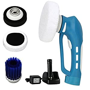 Car Polishing, Mini Cordless Car Polisher Buffer Handheld Electric Car Cleaner Machine IPX7 Waterproof for Car Polishing, Cleaning and Waxing with 3 Multifunctional Interchangeable Brushes (Blue)