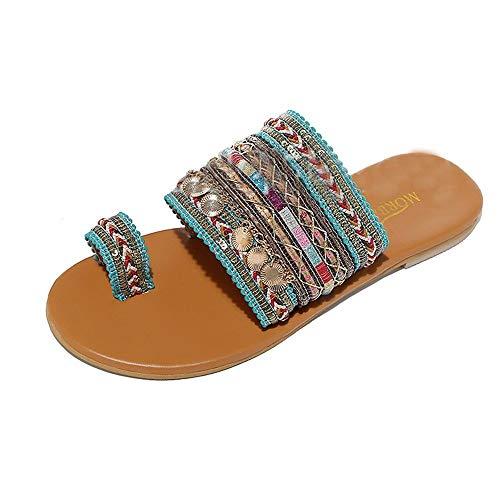 Aunimeifly Women Boho Sandals Greek Style Flip-Flops Ladies Ethnic Clip Toe Flats Slides Summer Shoes Green ()