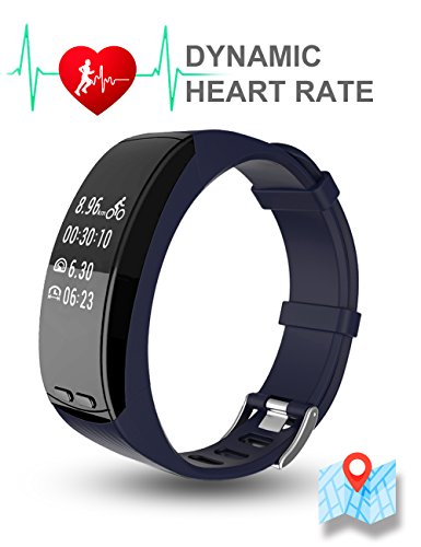 TOM TONY P5, GPS fitness band and activity tracker, built in GPS/Dynamic heart rate monitoring (Dark Blue Black)