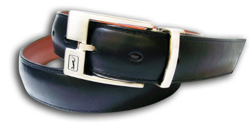 PGA TOUR Men's Twist Buckle Reversible Belt, Black/Brown, 38