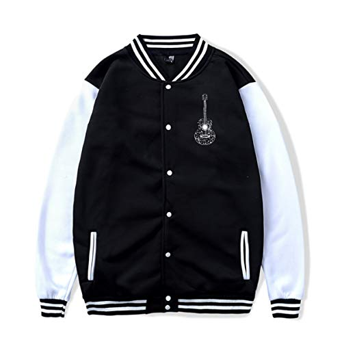 PLS&A88 Unisex Baseball Jacket Uniform Guitar and Music Notes Boys Girls Hoodie Sweatshirt Sweater Coat -