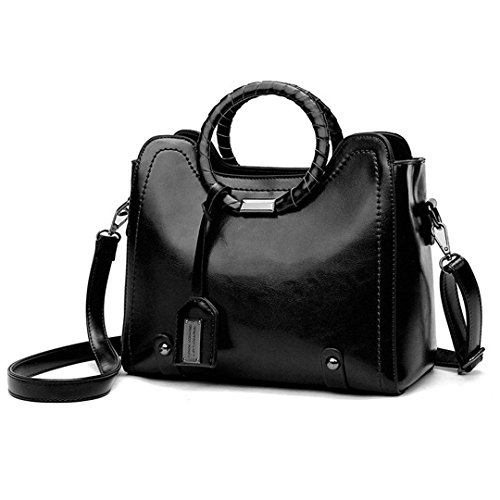 Black Bags Women Patchwork Hobos Bag Shoulder Tassel Leather fwYxq1v