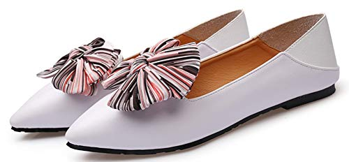 Pointue Basse Femme Aisun Confortable Noeud Blanc Rayures Ballerines Coupe HfnOXqR