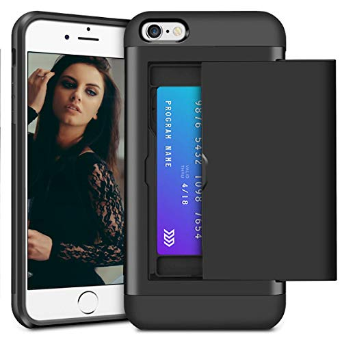 XNMOA Case for iPhone 6 Wallet Case iPhone 6S Cover Impact Resistant Protective Hybrid Shell Shockproof Soft Rubber Bumper Case Anti Scratches Hard Cover Skin Card Slot Holder for iPhone 6 6S, Black