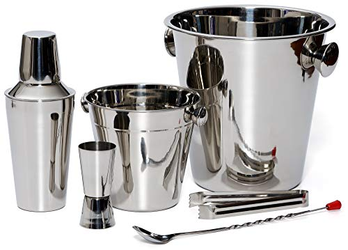 Bar Set By Bezrat - Stainless Steel Barware Accessories - Cocktail Kit for Parties & Fun - 6 Piece Bartender Set with Cocktail Shaker, Double Jigger, Ice Tongs, Wine Chiller, Ice Bucket & Mixing Spoon (Personalized Bucket Wine Chiller)