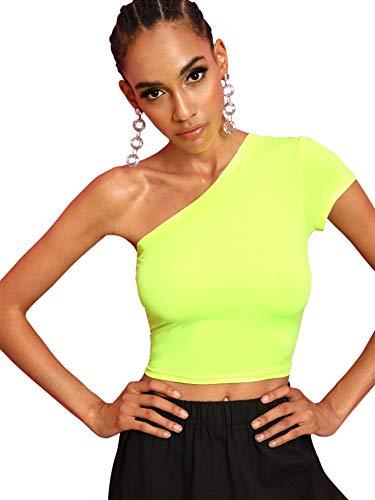 Floerns Women's One Shoulder Long Sleeve Plain Casual Crop Tops Neon Green - Crop Green