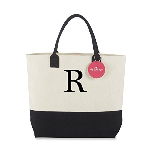 Kate Aspen Tote Bag, Classic Monogrammed Black White R