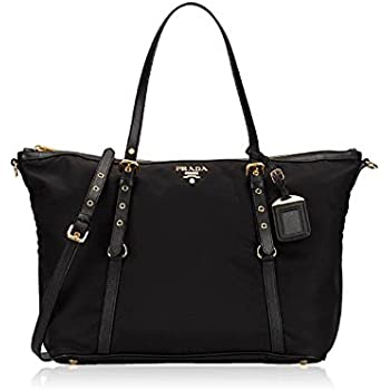 Amazon.com  Prada Women s Tessuto Black Nylon Shopping Tote Handbag ... d0a9d3302f