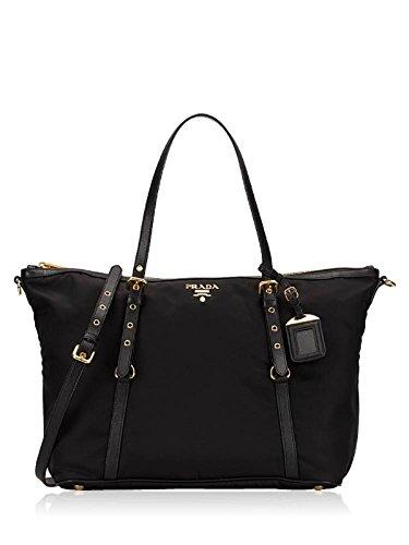 Prada Women's Tessuto Black Nylon Shopping Tote Handbag 1BG253 - Tessuto Black Bag