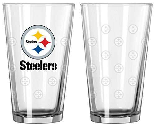 Pittsburgh Steelers Satin Etch Pint Glass Set - Nfl Pint Glasses