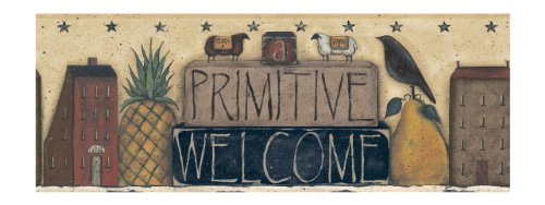 (York Wallcoverings Best Of Country PC3938BD Primitive Welcome Border, Almond)