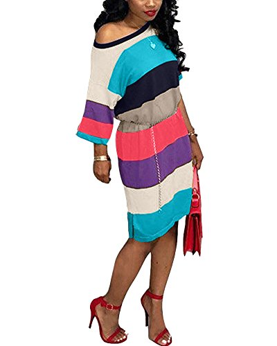 Women One Shoulder Batwing Half Sleeve Casual Loose T-Shirt Midi Dress Rainbow Stripe Blue L (Sleeve Neck Dresses Half)
