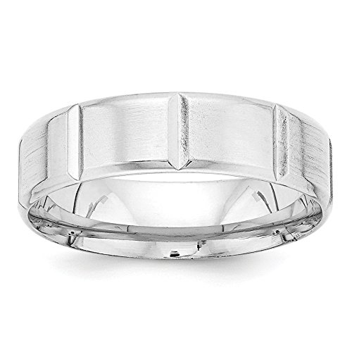 14k White Gold Standard Comfort Fit Fancy Band by Saris and Things