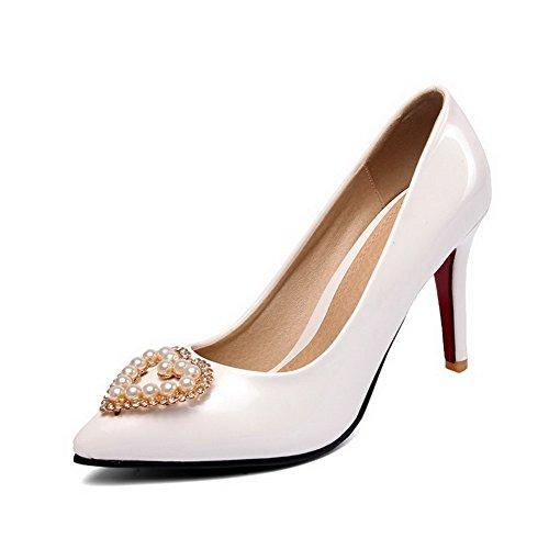 AgooLar Damen Ziehen auf Lackleder Spitz Zehe Stiletto Rein Pumps Schuhe Weiß