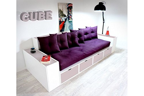 ABC MEUBLES - Boxensofa, mit Schubladen - CANAPCUBLB - Violet Pastel