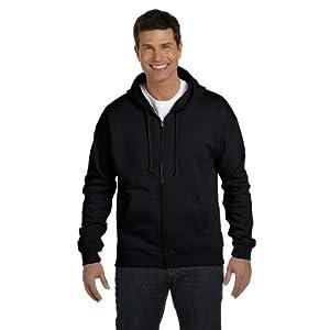 Hanes Adult ComfortBlend EcoSmart Full Zip Hoodie Pullover, Blk, Large