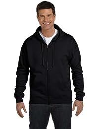 Men's Full-Zip EcoSmart Fleece Hoodie (1 Black + Deep Red)