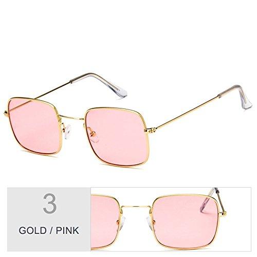 Gold Con Marco Pink TIANLIANG04 Sol Claro De De Sobredimensionado Mujer Sol Gafas Gafas De Plateado Metal wq6zUA