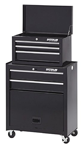 Waterloo 5-Drawer Tool Chest and Rolling Cabinet with Bulk Storage Area, Black Finish, 26