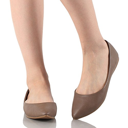 On Pointy Women's Ballet marie Taupe Slip PU Toe Flats Angie Classic Bella 52 6qTxw6va