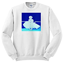 3dRose RinaPiro - Marilyn Monroe - Marilyn Monroe. Legendary Screen Actress and Model. Blue. - Sweatshirts - Youth Sweatshirt Small(6-8) (SS_261333_10)