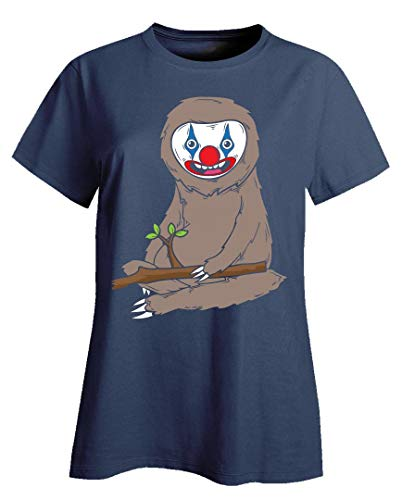 Sloth Wearing Scary Clown Makeup Cute Halloween Spooky Graphic Art Gift - Ladies -