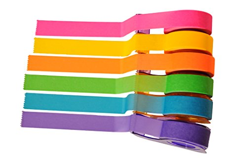 Homestic Removeable Highlighter Tape 0.6-inch x 393-inch, Fluorescent Colors (6 Colors with Dispenser) by Homestic (Image #2)