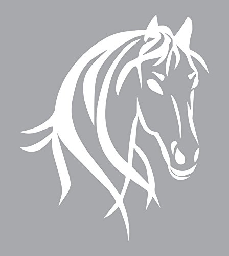 """Horse Truck Decal for Women is a Large OUTDOOR Vinyl Sticker Gift (22"""" x 26.25"""") Displaying Cowgirl Décor of Big Beautiful Wild Spirit Horse Head - Horse Trailer Truck Window RV – WHITE -"""