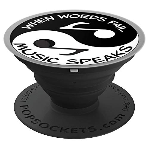 Yin Yang Sign For Music Lovers Gift Black & White Musician - PopSockets Grip and Stand for Phones and Tablets